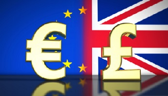 Brexit British referendum financial concept with EU and UK flag and currency icon and symbol 3D illustration background.