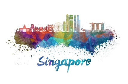Singapore V2 skyline in watercolor splatters with clipping path